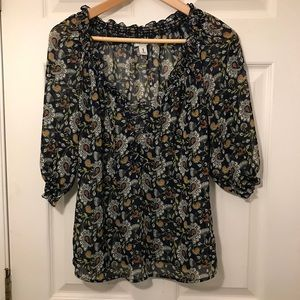 Old Navy Sheer Navy Floral 1/4 Lace Up Blouse Med